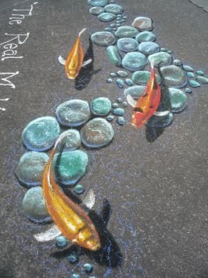 Bob Diven paints on the street—literally—in chalk and pastel, creating transitory illusion and fleeting commentary.
