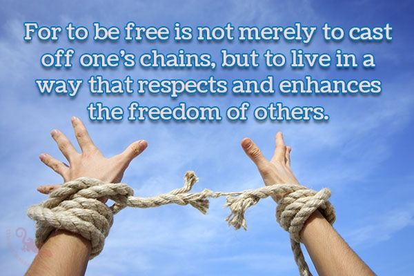 """""""For to be free is not merely to cast off one's chains, but to live in a way that respects and enhances the freedom of others.""""  #free #merely #cast #chains #live #respect #enhances #freedom  ©The Gecko Said - Beautiful Quotes - www.thegeckosaid.com"""