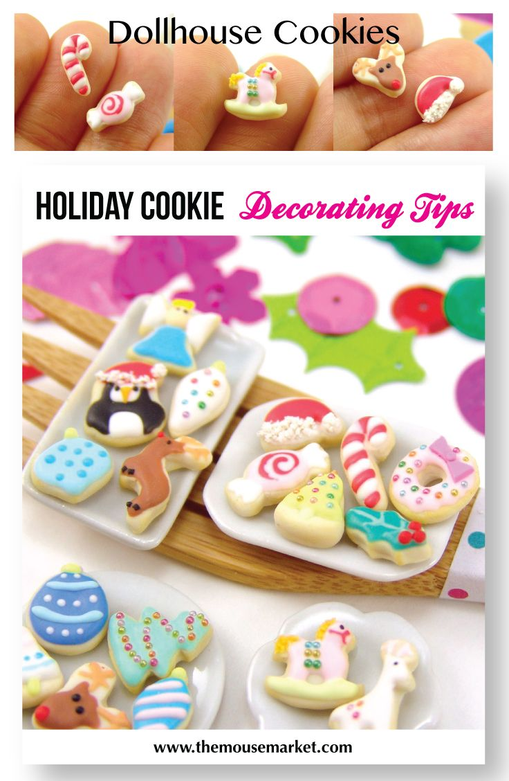 Learn how to make dollhouse miniature cookies and decorate them for Christmas! #dollhouseminiature #minifood #ChristmasDIY