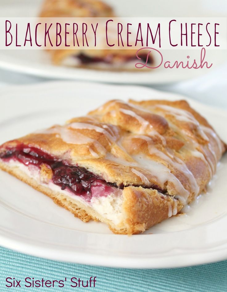 Easy Blackberry and Cream Cheese Danish from SixSistersStuff.com.  Only takes a few minutes to make, but tastes like it came straight from a pastry shop! #recipes #danish #breakfast