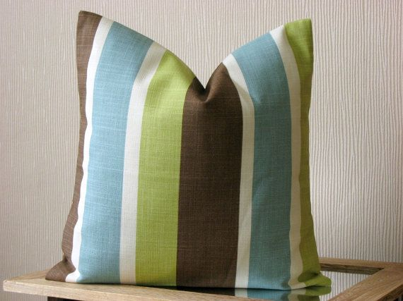 Throw pillow cover - 40x40 pillow cover only - Eastern stripe pistachio - green blue brown white. $14.50, via Etsy.