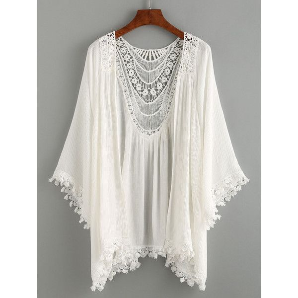 Lace Trimmed Crochet Insert Kimono - White ($15) ❤ liked on Polyvore featuring intimates, robes, white, kimono robe, white kimono and white robe