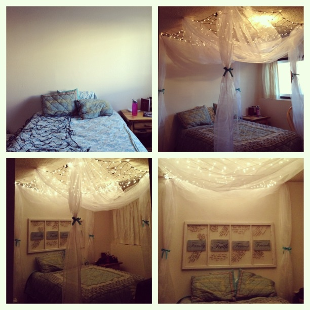 17 best images about beds with lights on pinterest for Hanging canopy over bed