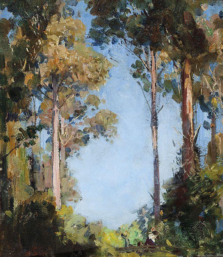 """ Arthur Streeton (Australian, 1867-1943), The Glade at Olinda, 1930s. Oil on canvas, 38 x 33 cm. """