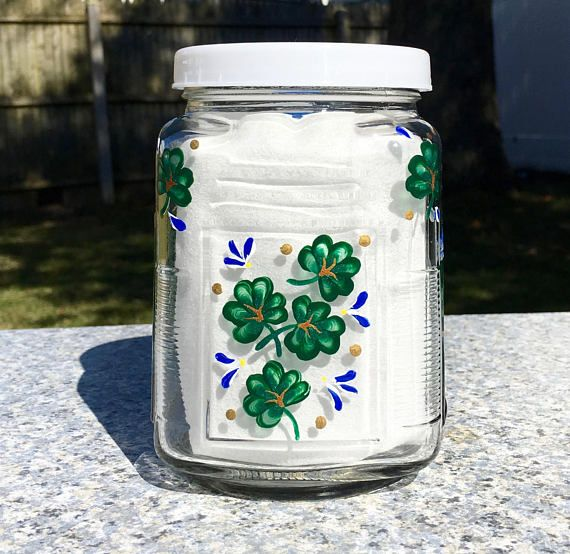 Glass Jar With Hand Painted Shamrocks and Blue Flowers, Cookie Jar, Irish Gifts, Mothers Day Gift, Glass Canister With Lid, Gifts For Her  #stpatricksday #glasscanister #shamrockcookiejar #shamrockcanister #mothersdaygift #irishgifts #housewarminggift