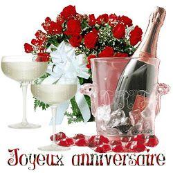 Bouteille de champagne et verres: Joyeux Anniversaire