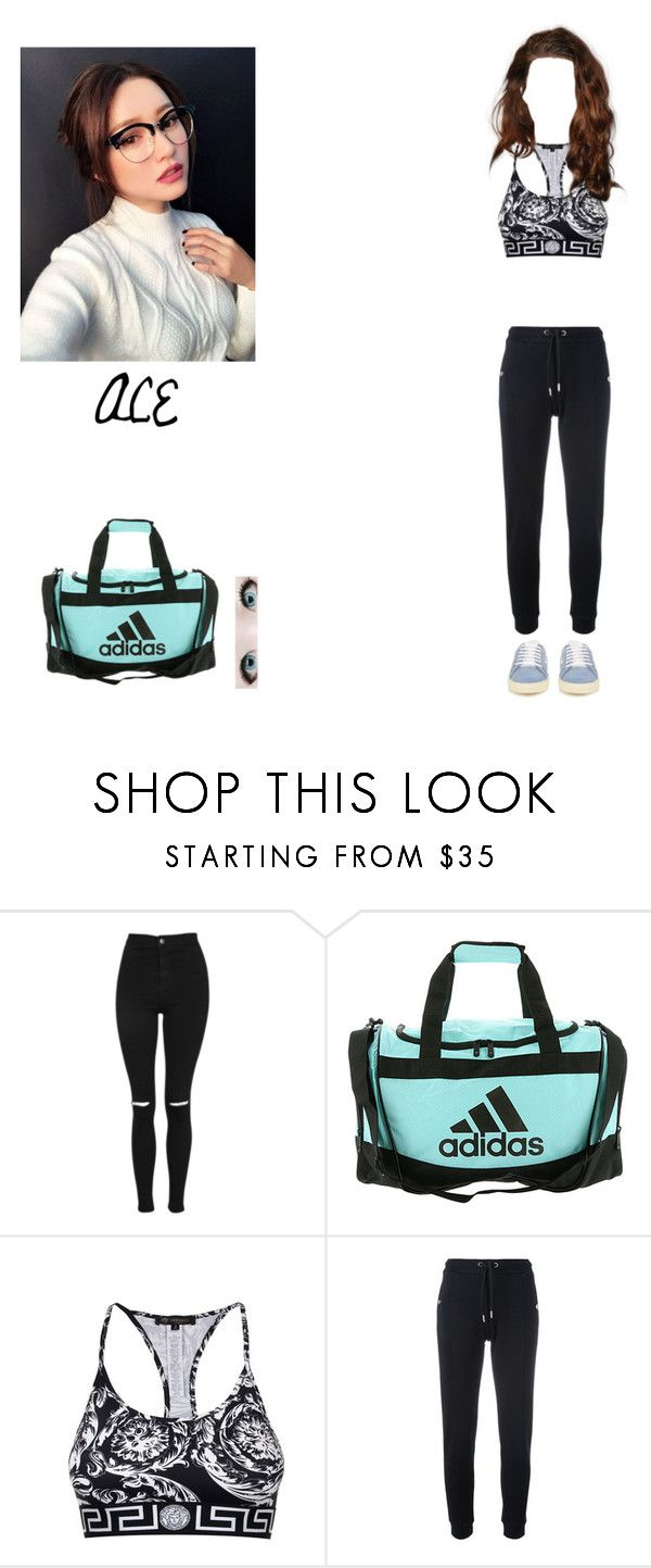 """""""Dance and Vocal Practice; ACE"""" by karmaxofficial ❤ liked on Polyvore featuring Topshop, Full Tilt, adidas, Versace, Zoe Karssen and Yves Saint Laurent"""