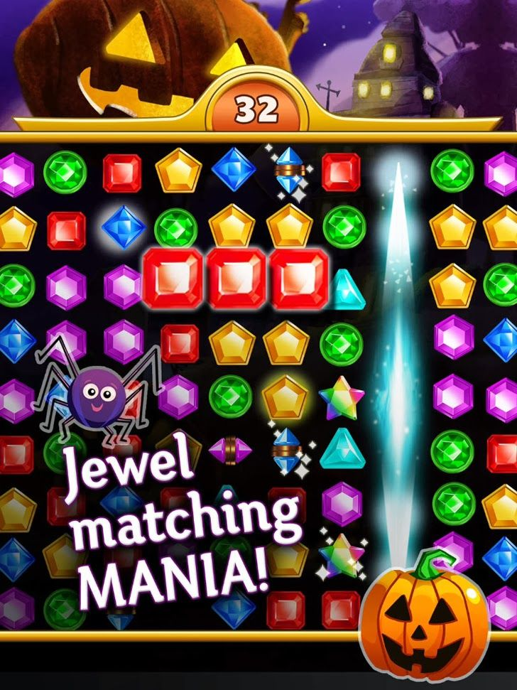 Jewel Mania: Halloween App. Elimination puzzle game apps.