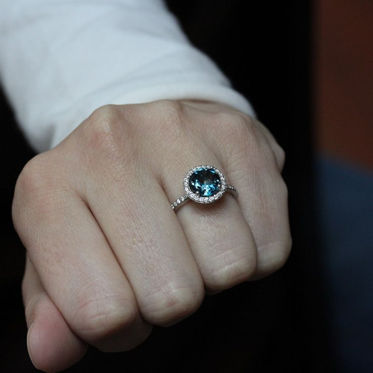 London Blue Topaz Engagement Ring Diamond Side by SerenadeDiamonds, $841.00 want!!!!!!!!!!!!!!!!!!!!!