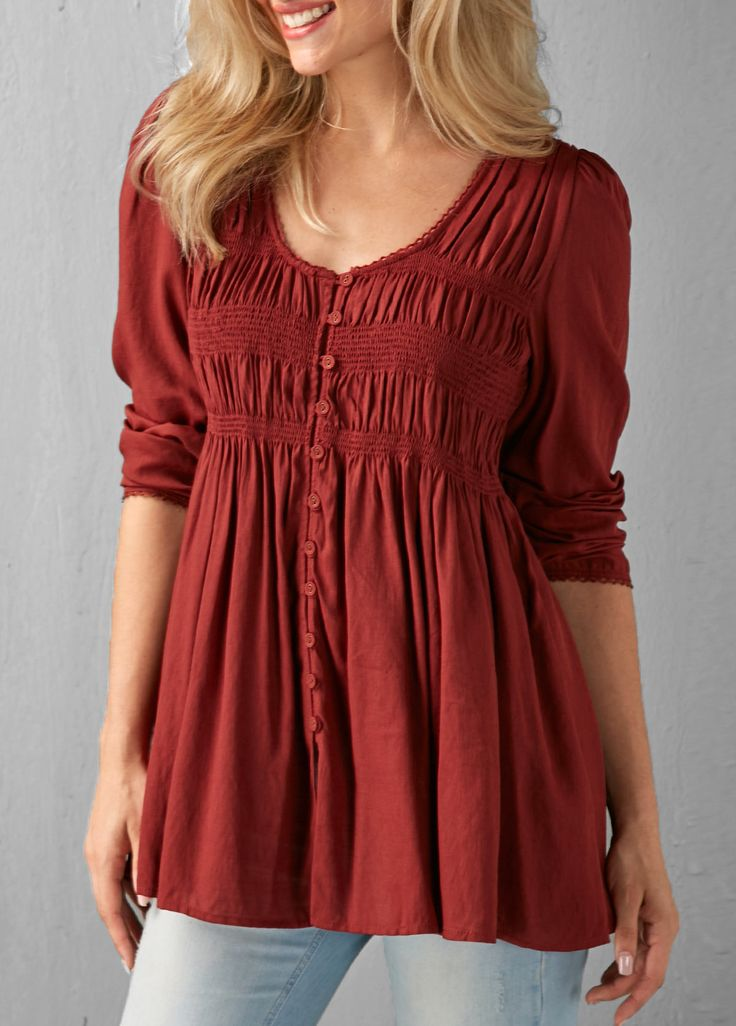pleated button up wine red blouse modestil kleidung kleider xxl
