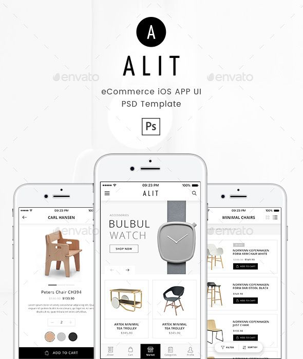 Alit - Minimalist eCommerce PSD UI for iOS App Alit is a minimalist, modern, clean and fresh UI design template for eCommerce (Online Shopping) or marketplace app. We made this template fit for your service. This template including product detail, product review, product grid and list style, shopping cart, checkout page, about us, contact us,