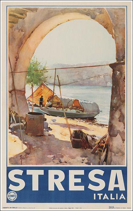 Vintage Travel Poster - Stresa - Lake Maggiore - Italy - 1949.