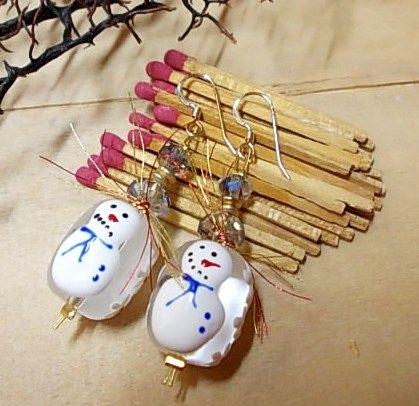 Christmas earrings with snowmen