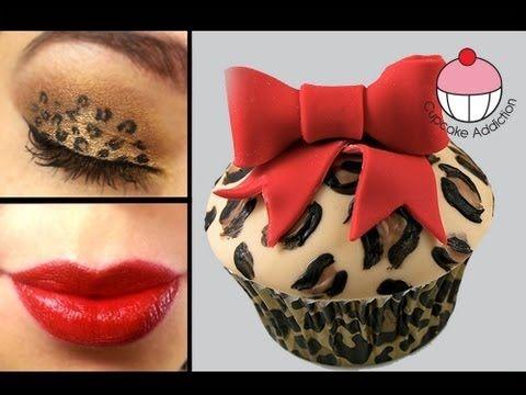 Leopard Print Cupcakes and Matching Makeup! A Cupcake Addiction & Eyedolize Makeup How To Tutorial