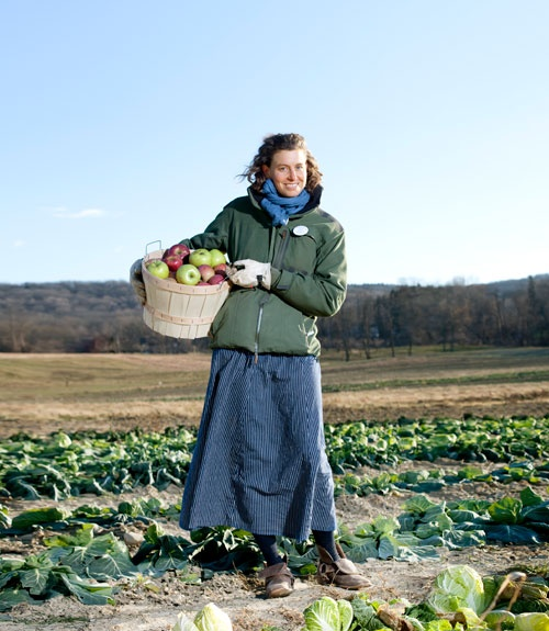 This is what Today's Farmer looks like.  Severine von Tscharner Fleming, 29, manages a 100-acre farm in New York's Hudson Valley.