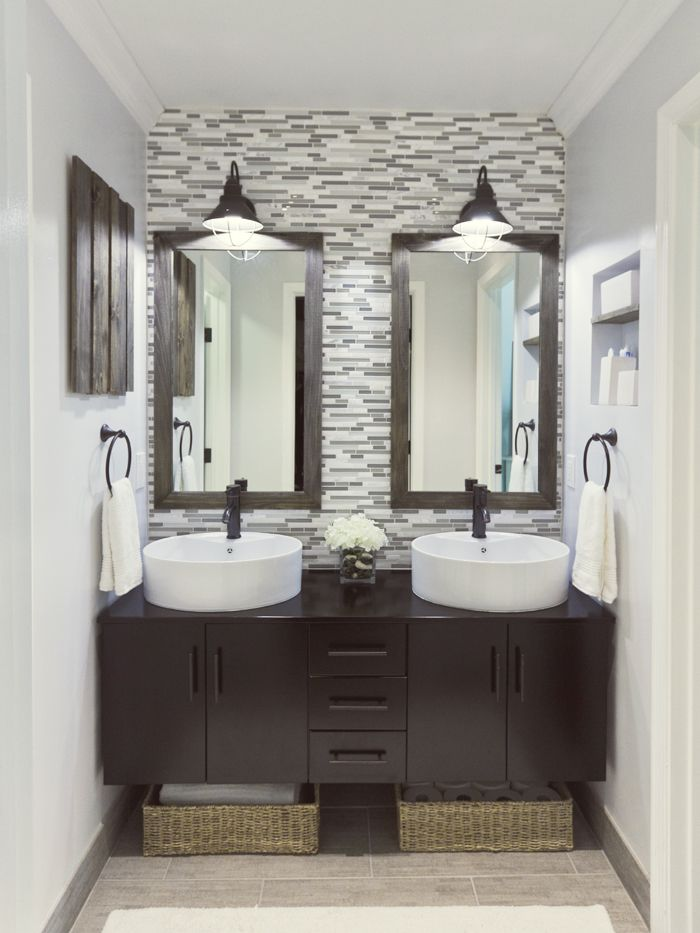 Dark rustic wood + glass tile backsplash #bathroom #glass #tile