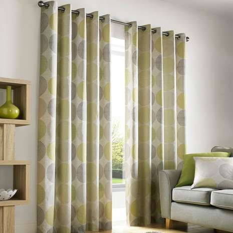 Crafted from 100% cotton and featuring a circular geometric pattern in lime green, black and natural shades, these fully lined eyelet curtains are available in ...