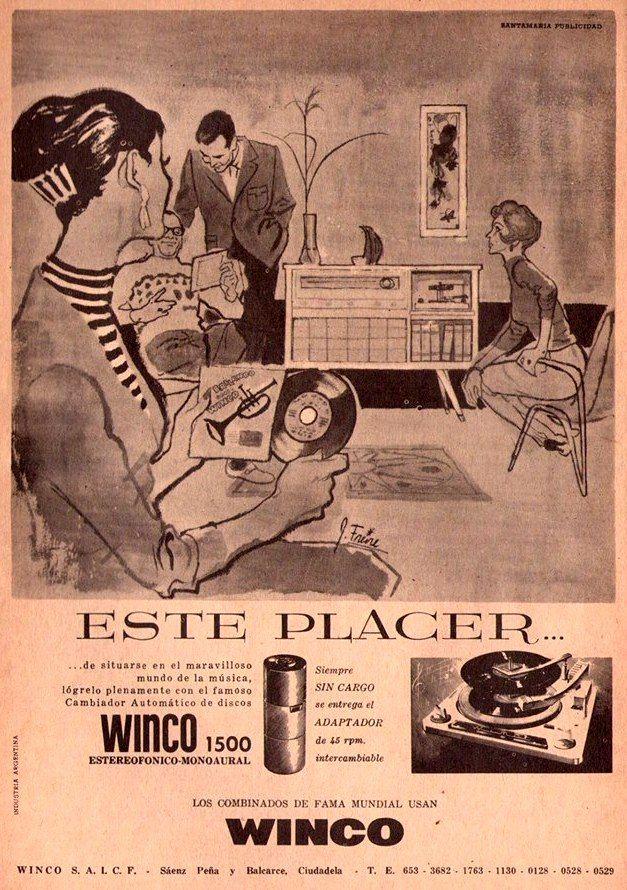 Combinados y tocadiscos WINCO, 1960.