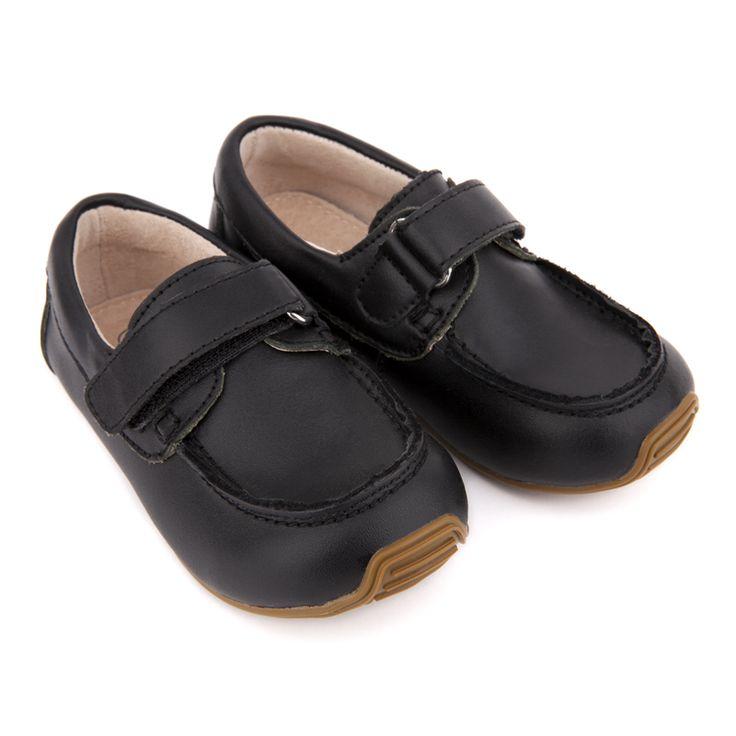 SKEANIE Kids Black Leather Deck Shoes size 22 $49