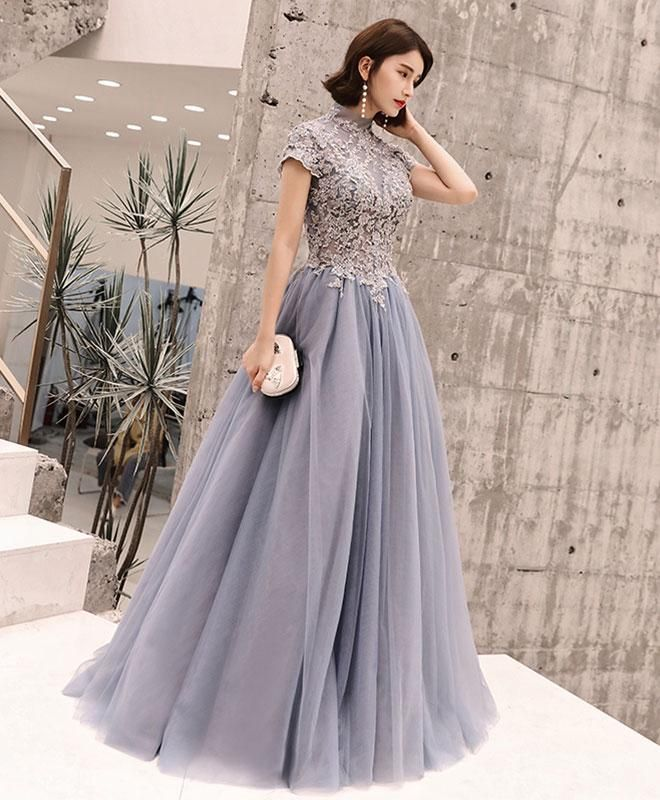 Gray round neck tulle lace long prom dress ed000da3fee2