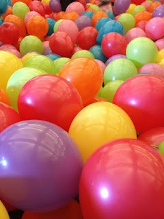 Easter egg hunt in a room filled with balloons.. great for toddlers!!
