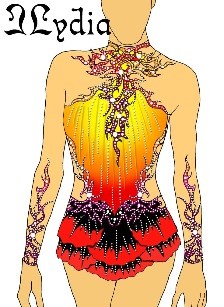 Competition Rhythmic gymnastic leotard design Firebird