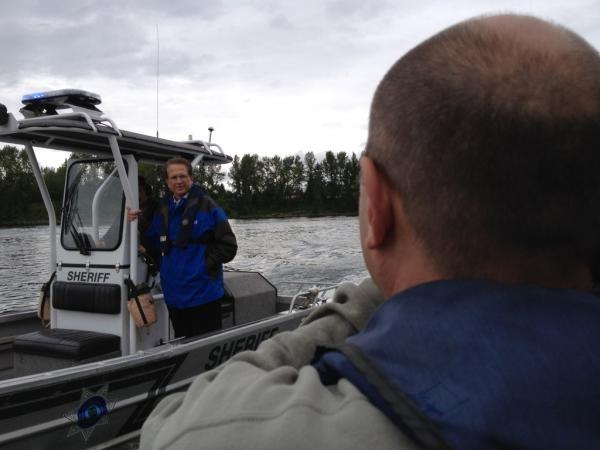Meteorologist Jim Donovan shooting a weather promo on the Clackamas