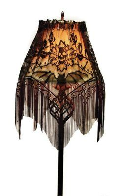 """Gothic Lamp Shade - Convert a common lamp shade into dreadfully gothic décor suitable for any haunted parlor. USA. 60 x 22"""""""
