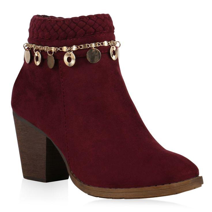 Damen Stiefeletten Cowboy Boots Dunkelrot