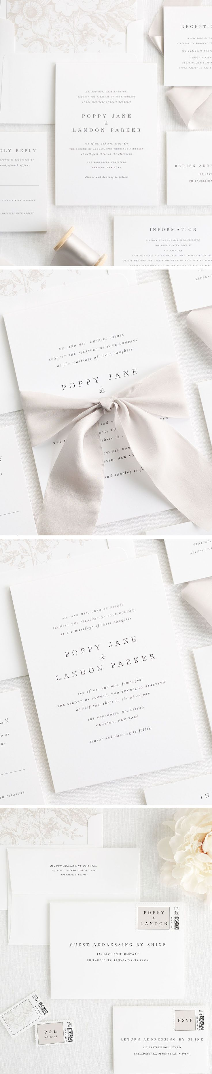 This minimalist design comes on the most luxurious cotton paper. Our Poppy wedding invitations can be customized with different pattern liners and over 40 ink colors. Create your perfect look with a custom dyed 100% silk ribbon in mink, custom designed stamps and a floral envelope liner.