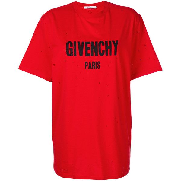 Givenchy Short Sleeves T-Shirt ($740) ❤ liked on Polyvore featuring tops, t-shirts, red, cotton t shirts, givenchy t shirt, distressed t shirt, red t shirt and destroyed t shirt