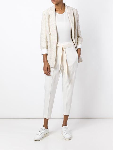 Белые укороченные брюки из микса хлопка и льна от Brunello Cucinelli