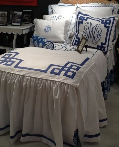 """Custom Fretwork Skirted Bed Linens with 1"""" wide tape border. GORGEOUS!!"""