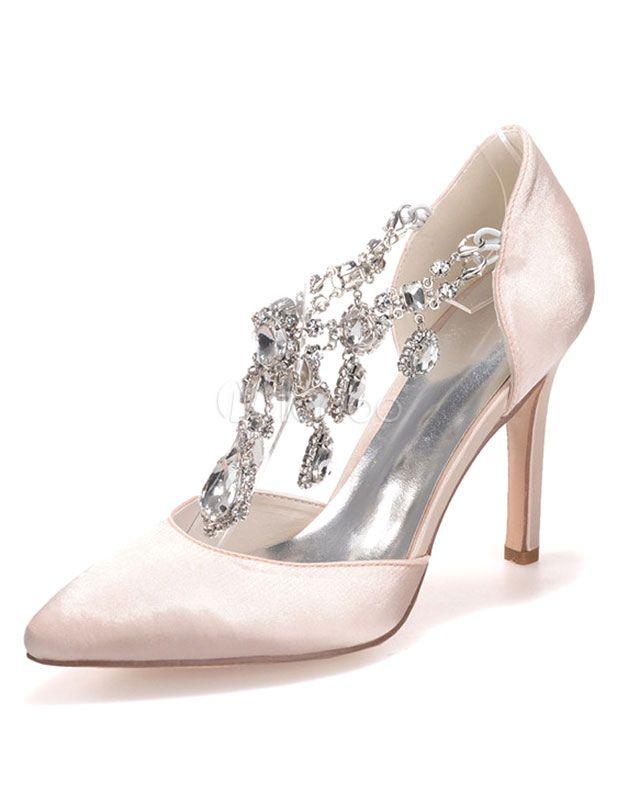 De Mariée Chaussures Orné Talons Bijoux 8Onk0wPX