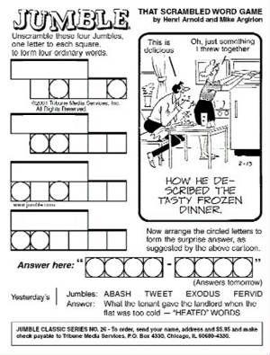 Free Printable Jumble Word Game