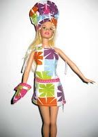 barbie chef hat, mitt, apron