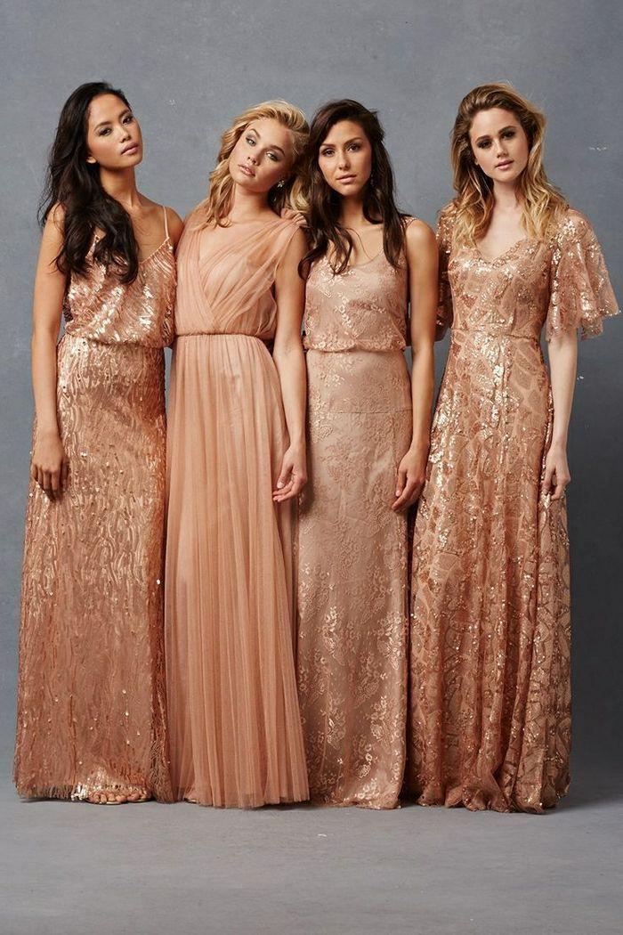 6a68ec55a2 Magnifique robe sequin doré robe de soirée doré longue tendance sequins  rose dore robe longue mariage