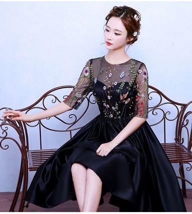 ワンピース エレガント♪ フラワー 刺繍 シースルー ドレス ワンピース(6)