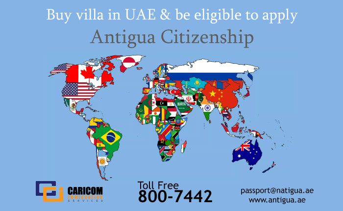 It is possible to obtain Family citizenship of Antigua by purchasing real estate from USD 410,960. 5 % on Booking. Price included 5 family members (Inclusion dependent children under 26 & parents above 65 years old) Call us at 971-800-7442 http://www.antigua.ae/pages/second-passport #citizenship,#dualcitizenship