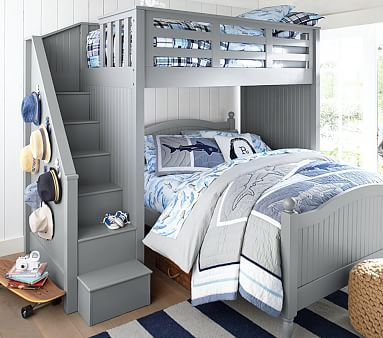 Gonna get this for the girls. They are gonna love it! And it will last forever being from PB. -Michelle  Catalina Stair Loft Bed & Lower Bed Set #pbkids
