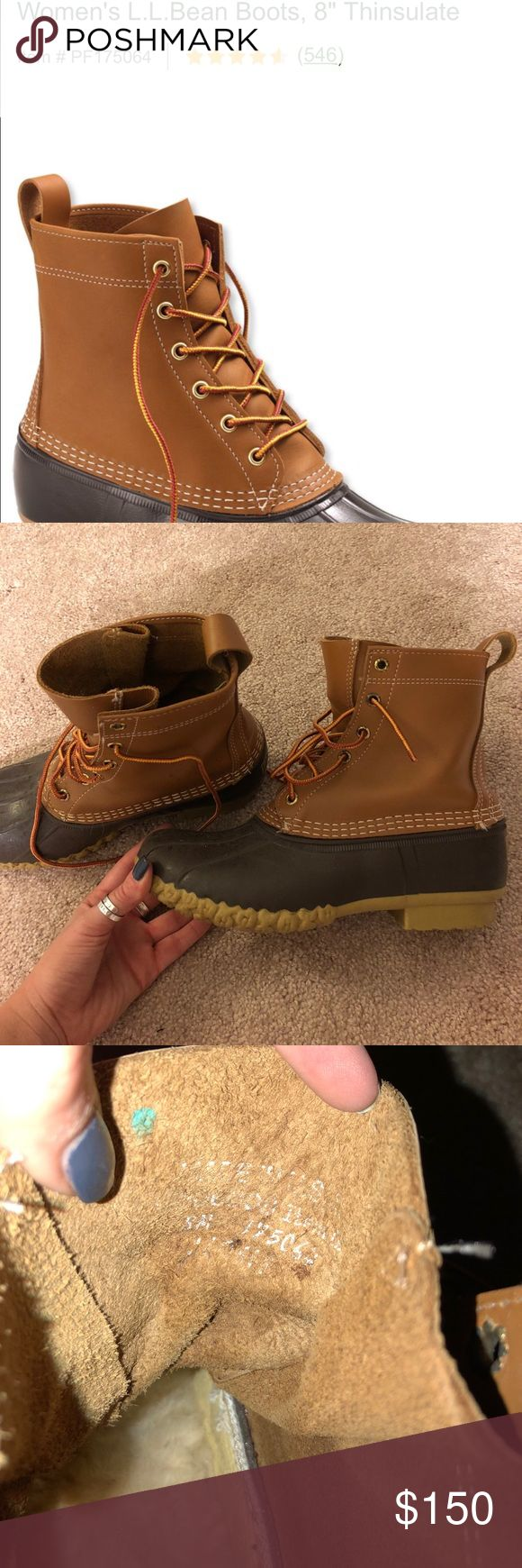 L.L. bean boots women's 8 - 8 inch Worn literally less than 5 times. These are the thinsulate boots. I️ took out the normal soles and put ugg wool inserts in. I️ don't even think I️ wore them after I️ swapped them out. The only signs of wear are shown in the last pic: the hardware for the laces, the paint has chipped off a little L.L. Bean Shoes Winter & Rain Boots