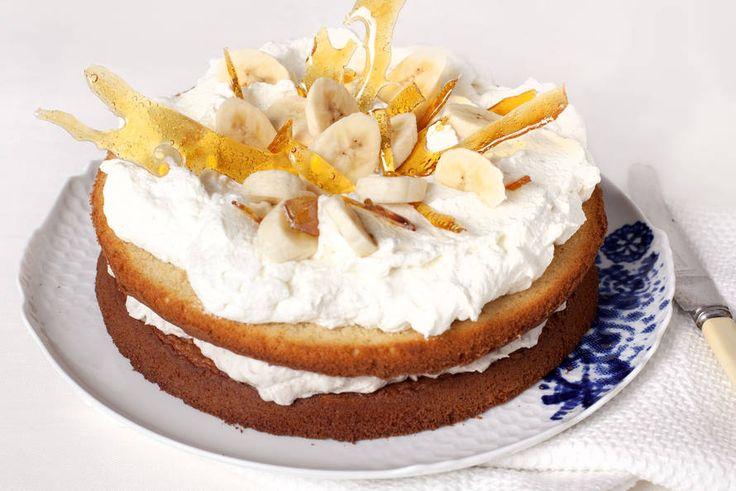 Banaan-slagroomtaart met karamel - Recept - Allerhande