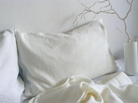 White Linen sheets queen size 100 % linen sheets by ShumaHandmade