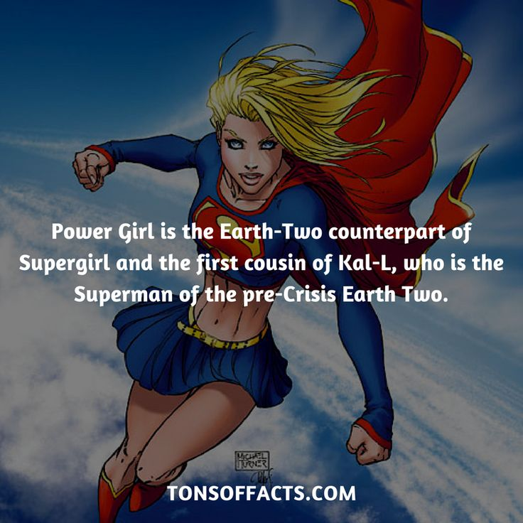 Power Girl is the Earth-Two counterpart of Supergirl and the first cousin of Kal-L, who is the Superman of the pre-Crisis Earth Two. #supergirl #tvshow #justiceleague #comics #dccomics #interesting #fact #facts #trivia #superheroes #memes #1 #movies #superman