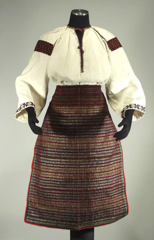 Ukrainian Hutsul Folk Costume embroidered blouse wool aprons ethnic dress
