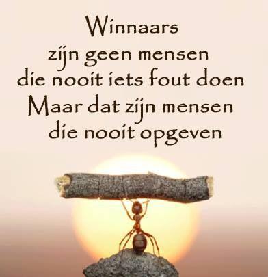 Winnaars zijn geen mensen die nooit iets fout doen. maar dat zijn mensen die nooit opgeven!