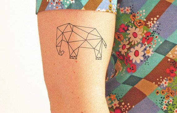 Geometric elephant  Temporary tattoo Set of 2 by TTTattoodotcom