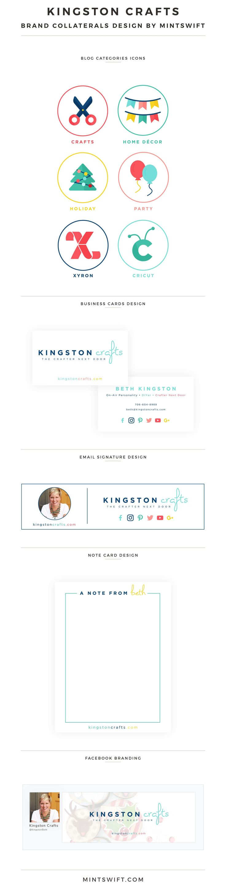 Brand Design for Kingston Crafts - MintSwift | Brand Collaterals Design | Brand Design | Brand Elements | Collateral Design | Logo Design | Brand Identity | Favicon Design | Alternative Logo Design | Submark Design | Social Media Design | Note Card Design | Email Signature Design | Brand Board | Brand Style Guide | Colour Palette | Facebook Branding | Blog post categories design | Business Cards Design | Brand Design Package | MintSwift Design | MintSwift Portfolio | MintSwift...