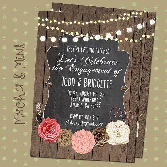 Rustic Bridal Invitation, Engagement Party, Bridal Shower, Wedding, Wood, Chalk, String Lights, Country, Pink, Flowers, Digital, Printable