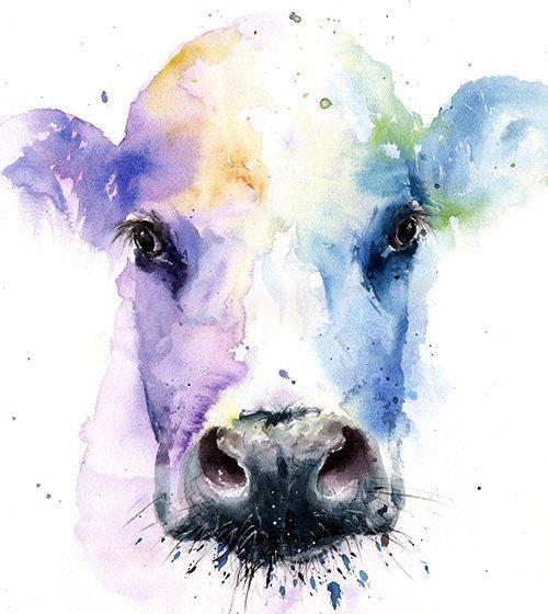 Gemälde von Kuh Kuh-Aquarell Kuh Liebhaber von SignedSweet auf Etsy